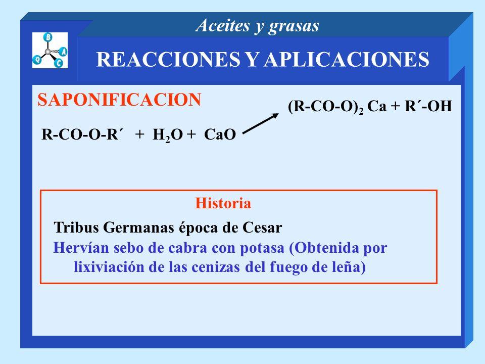 REACCIONES Y APLICACIONES Aceites y grasas SAPONIFICACION R-CO-O-R´ + H 2 O + CaO (R-CO-O) 2 Ca + R´-OH Historia Tribus Germanas época de Cesar Hervía