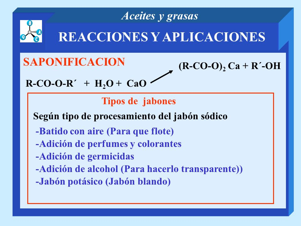 REACCIONES Y APLICACIONES Aceites y grasas SAPONIFICACION R-CO-O-R´ + H 2 O + CaO (R-CO-O) 2 Ca + R´-OH Tipos de jabones Según tipo de procesamiento d