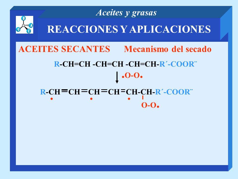 REACCIONES Y APLICACIONES Aceites y grasas ACEITES SECANTES Mecanismo del secado R-CH=CH -CH=CH -CH=CH-R´-COOR¨. O-O.... R-CH CH CH CH CH-CH-R´-COOR¨