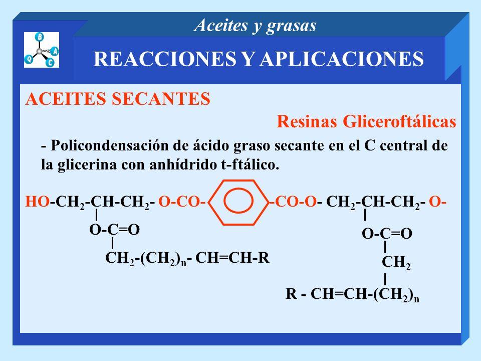 REACCIONES Y APLICACIONES Aceites y grasas ACEITES SECANTES Resinas Gliceroftálicas - Policondensación de ácido graso secante en el C central de la gl