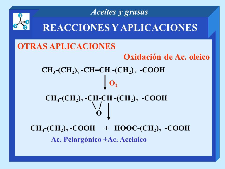REACCIONES Y APLICACIONES Aceites y grasas OTRAS APLICACIONES Oxidación de Ac. oleico Ac. Pelargónico +Ac. Acelaico CH 3 -(CH 2 ) 7 -CH=CH -(CH 2 ) 7