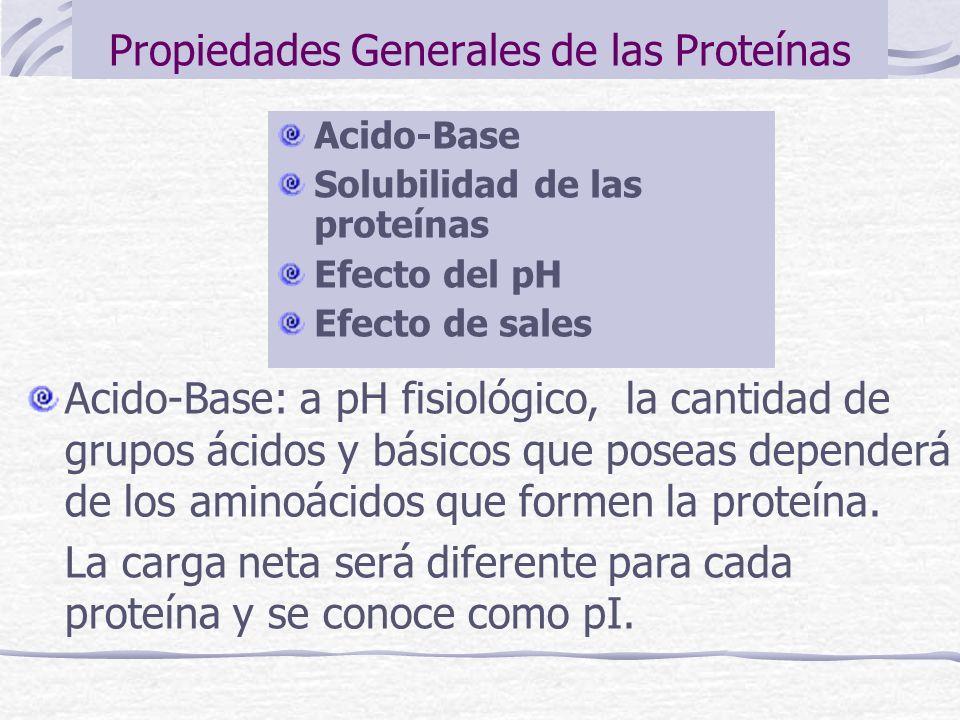 Propiedades Generales de las Proteínas Acido-Base Solubilidad de las proteínas Efecto del pH Efecto de sales Acido-Base: a pH fisiológico, la cantidad