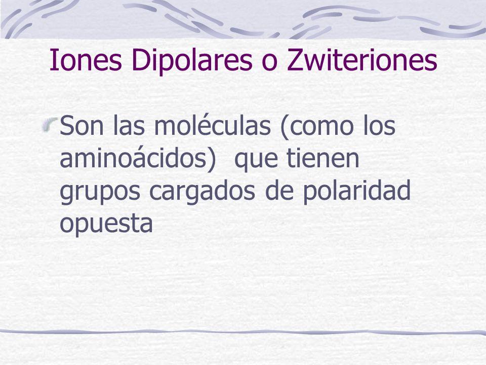 Iones Dipolares o Zwiteriones Son las moléculas (como los aminoácidos) que tienen grupos cargados de polaridad opuesta