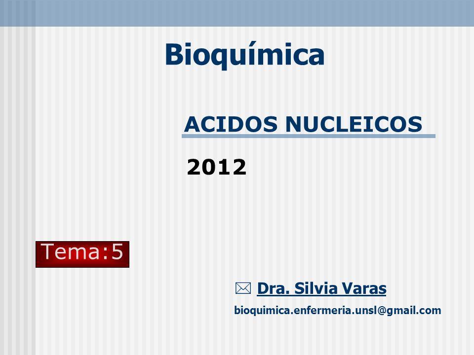 ACIDOS NUCLEICOS Bioquímica Dra. Silvia Varas bioquimica.enfermeria.unsl@gmail.com Tema:5 2012