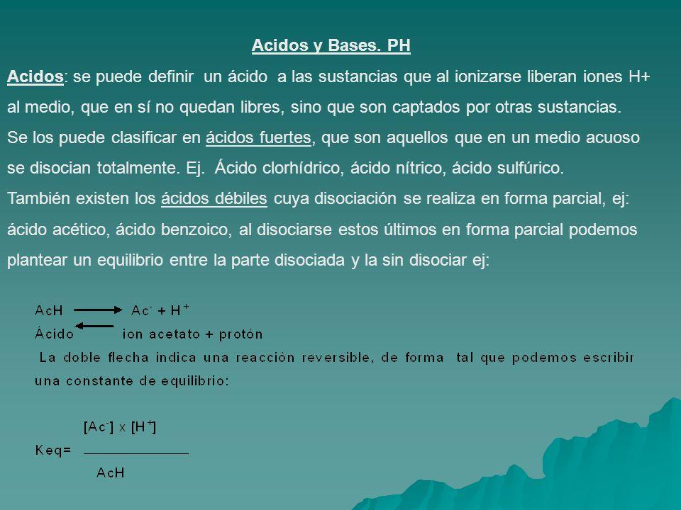 Acidos y Bases. PH Acidos: se puede definir un ácido a las sustancias que al ionizarse liberan iones H+ al medio, que en sí no quedan libres, sino que