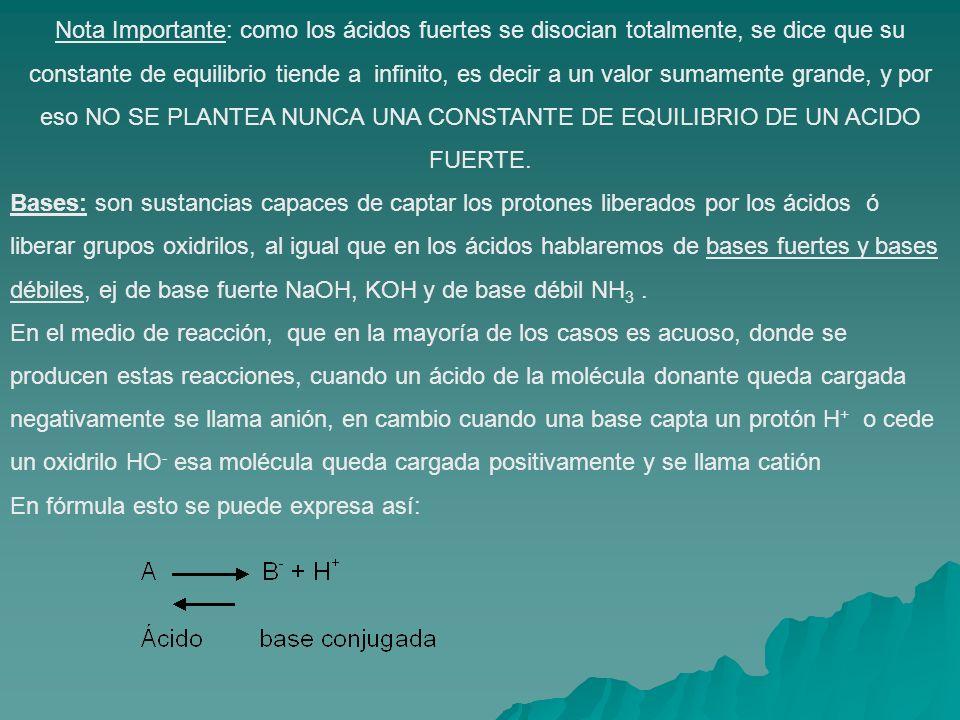 Nota Importante: como los ácidos fuertes se disocian totalmente, se dice que su constante de equilibrio tiende a infinito, es decir a un valor sumamen