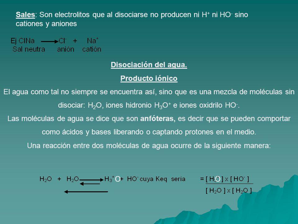 Sales: Son electrolitos que al disociarse no producen ni H + ni HO - sino cationes y aniones Disociación del agua. Producto iónico El agua como tal no