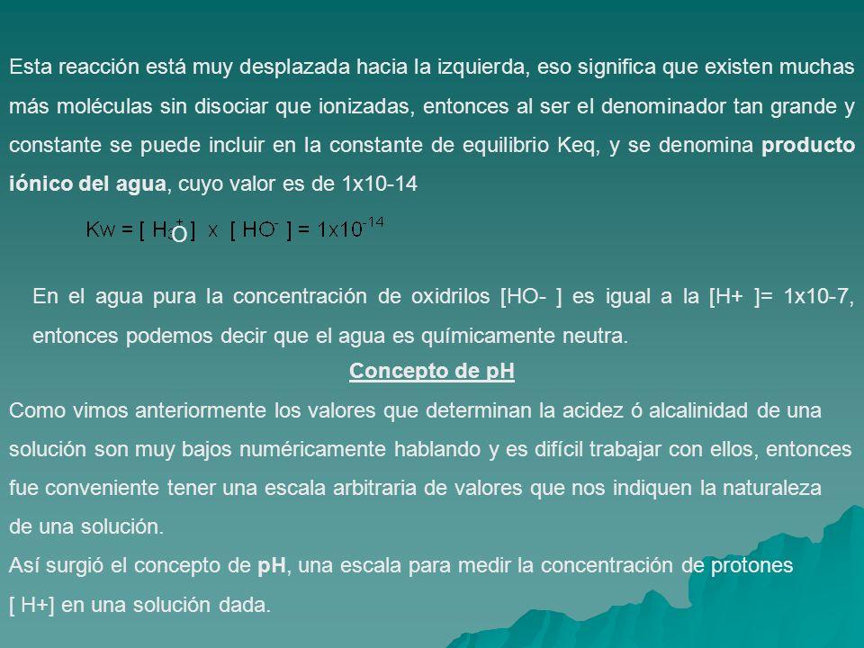 Esta reacción está muy desplazada hacia la izquierda, eso significa que existen muchas más moléculas sin disociar que ionizadas, entonces al ser el denominador tan grande y constante se puede incluir en la constante de equilibrio Keq, y se denomina producto iónico del agua, cuyo valor es de 1x10-14 En el agua pura la concentración de oxidrilos [HO- ] es igual a la [H+ ]= 1x10-7, entonces podemos decir que el agua es químicamente neutra.
