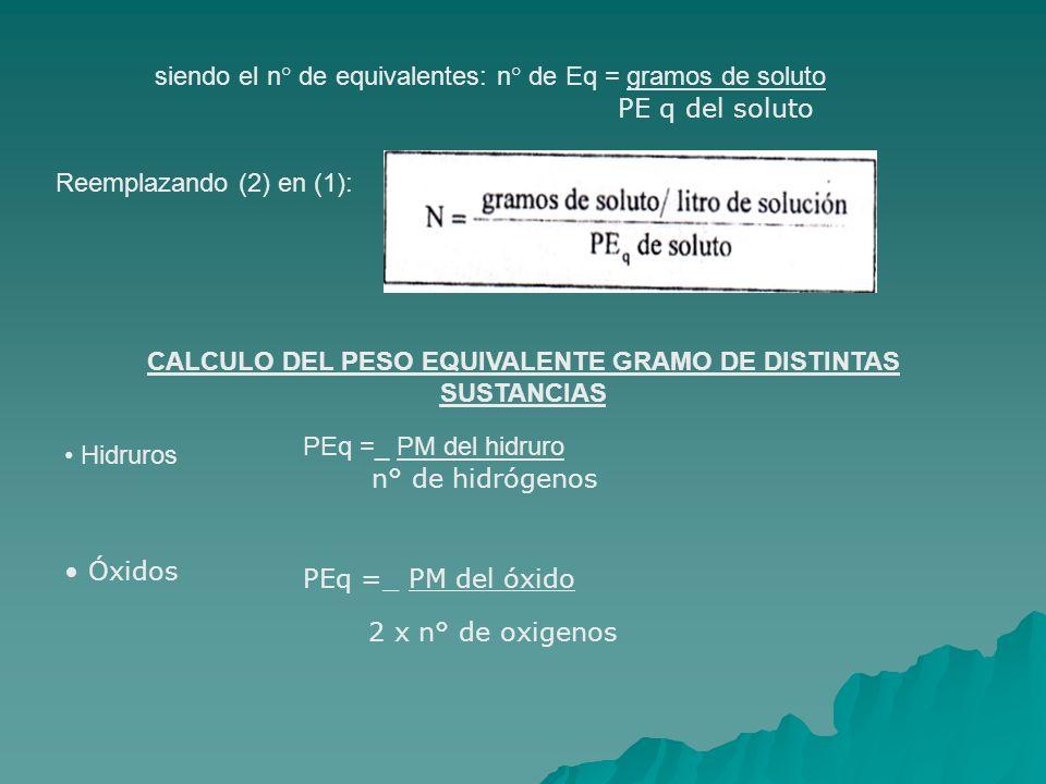 siendo el n° de equivalentes: n° de Eq = gramos de soluto PE q del soluto Reemplazando (2) en (1): CALCULO DEL PESO EQUIVALENTE GRAMO DE DISTINTAS SUSTANCIAS Hidruros PEq =_ PM del hidruro n° de hidrógenos Óxidos PEq =_ PM del óxido 2 x n° de oxigenos