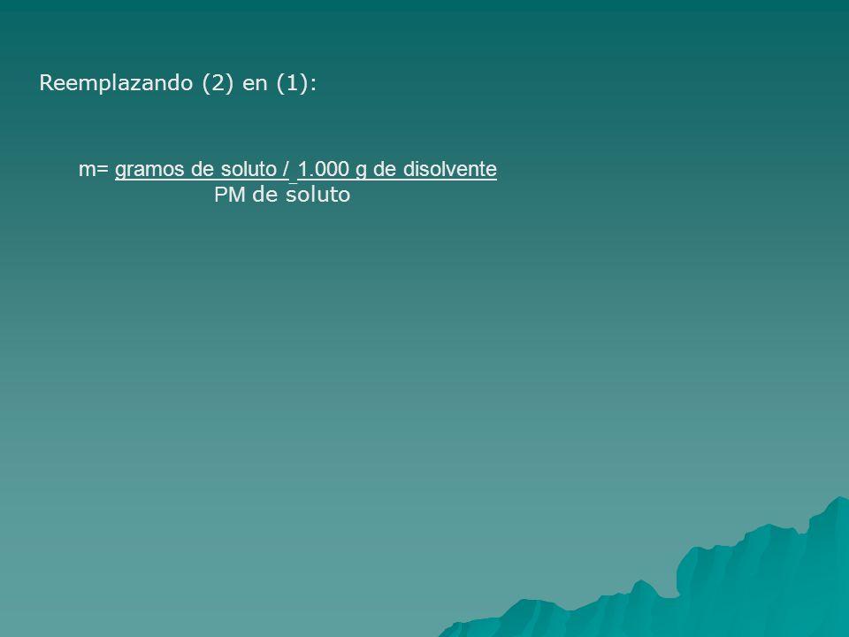 Reemplazando (2) en (1): m= gramos de soluto / _ 1.000 g de disolvente PM de soluto