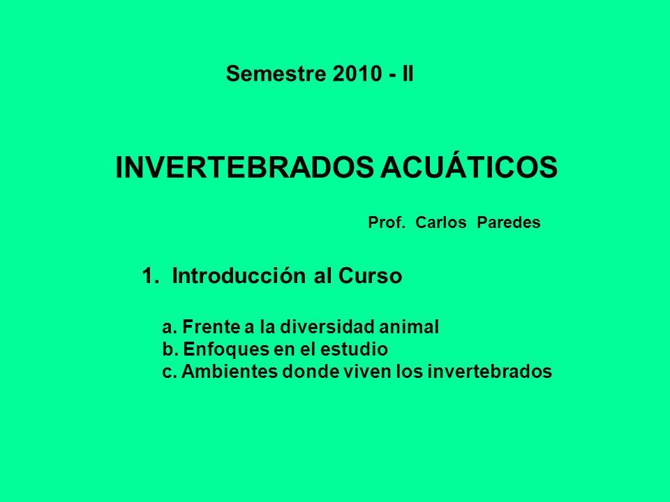 INVERTEBRADOS ACUÁTICOS Semestre 2010 - II 1. Introducción al Curso a. Frente a la diversidad animal b. Enfoques en el estudio c. Ambientes donde vive