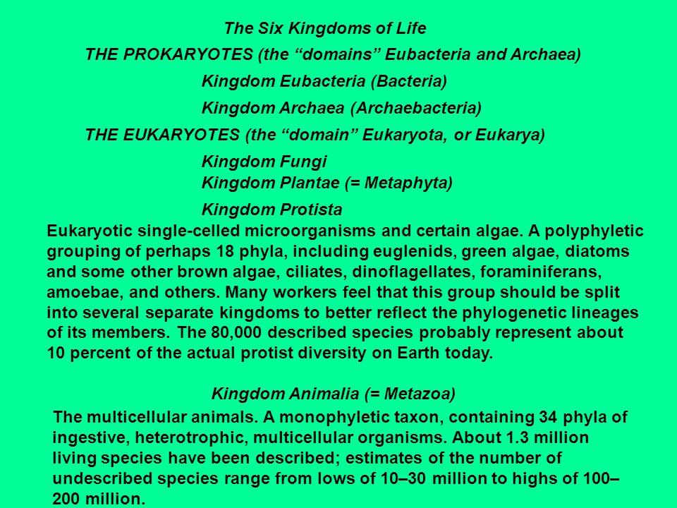 The Six Kingdoms of Life THE PROKARYOTES (the domains Eubacteria and Archaea) Kingdom Eubacteria (Bacteria) Kingdom Archaea (Archaebacteria) THE EUKAR