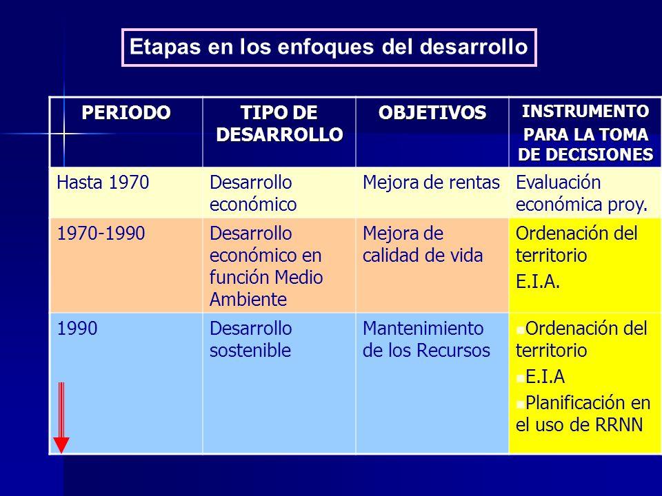 PERIODO TIPO DE DESARROLLO OBJETIVOSINSTRUMENTO PARA LA TOMA DE DECISIONES Hasta 1970Desarrollo económico Mejora de rentasEvaluación económica proy. 1