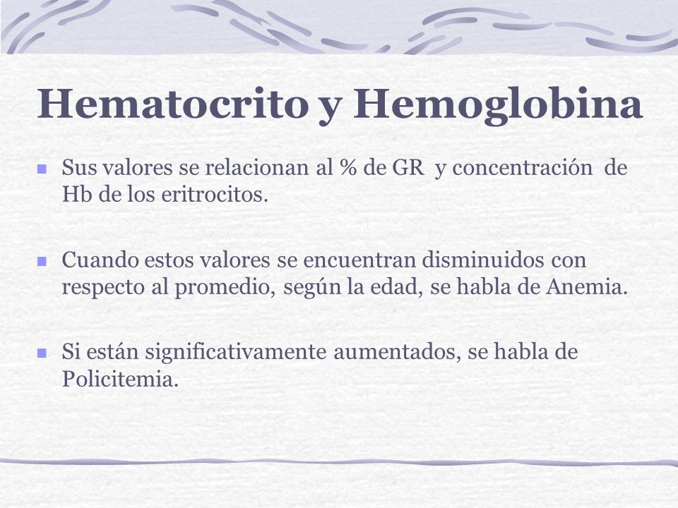 Fórmula del Hemograma normal Hematocrito H:47%M:42% HemoglobinaH:16g%M:14 g% EritrocitosH:5x10 6 M: 4,5x10 6 /mm 3 LeucocitosH y M: 5.000-10.000 /mm 3