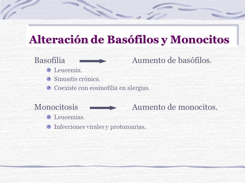Alteraciones en los Eosinófilos EosinofiliaAumento de eosinófilos. Infecciones parasitarias. Reacciones Alérgicas. Triquinosis (parasitosis tisular).