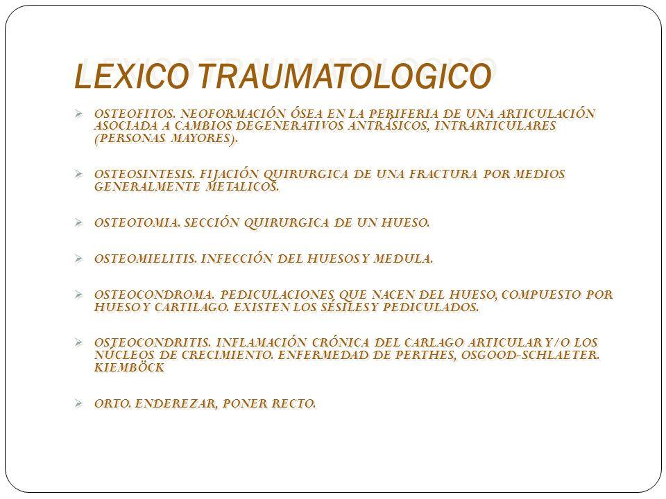 LEXICO TRAUMATOLOGICO OSTEOFITOS. NEOFORMACIÓN ÓSEA EN LA PERIFERIA DE UNA ARTICULACIÓN ASOCIADA A CAMBIOS DEGENERATIVOS ANTRÁSICOS, INTRARTICULARES (