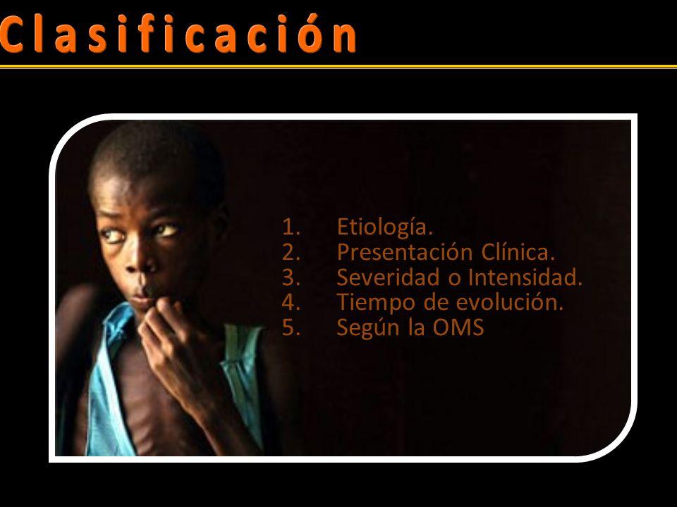 1.Etiología.2.Presentación Clínica. 3.Severidad o Intensidad.