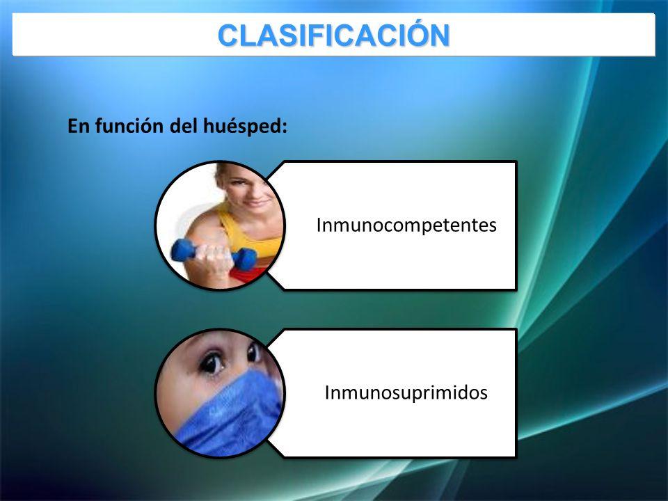 En función del huésped: Inmunocompetentes InmunosuprimidosCLASIFICACIÓN