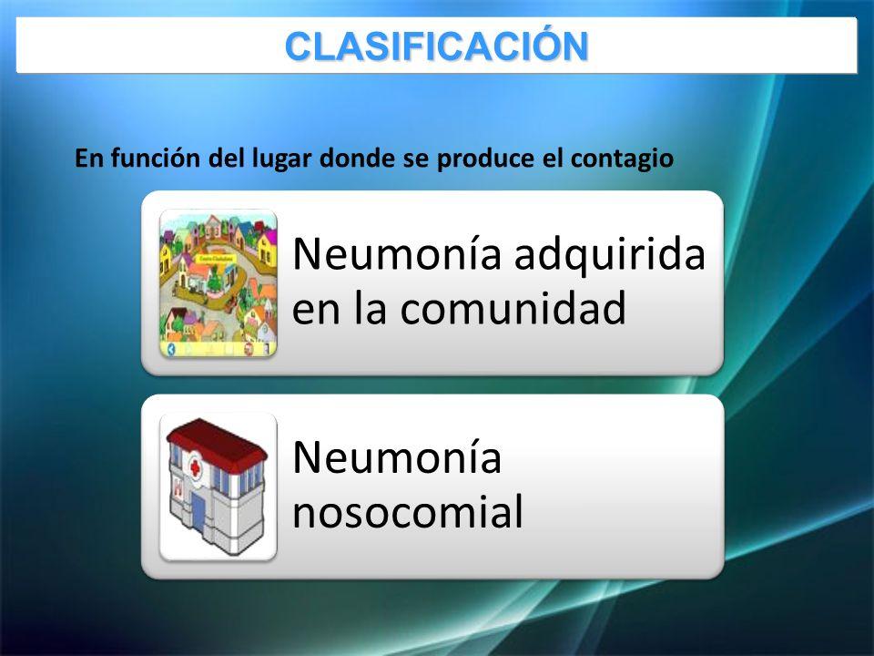 En función del lugar donde se produce el contagio Neumonía adquirida en la comunidad Neumonía nosocomialCLASIFICACIÓN