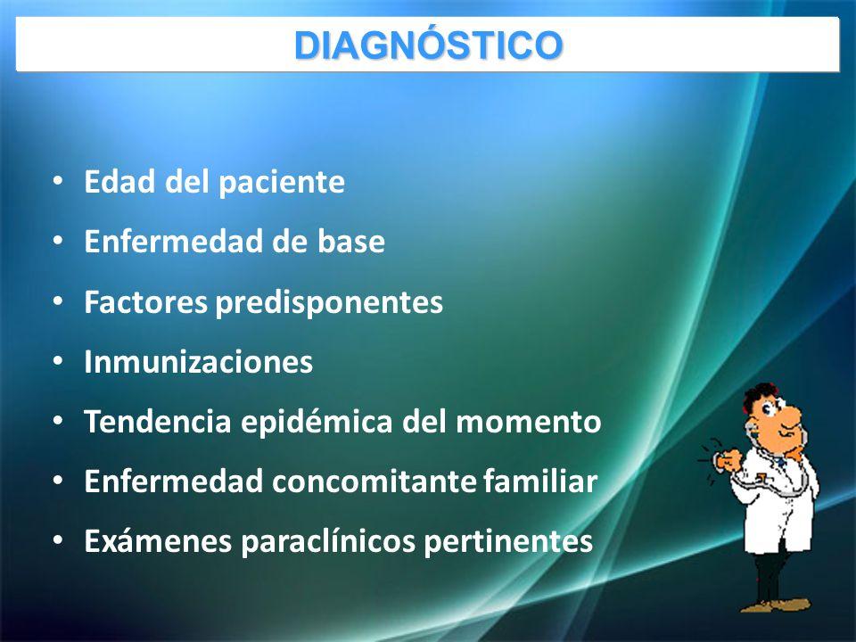 Edad del paciente Enfermedad de base Factores predisponentes Inmunizaciones Tendencia epidémica del momento Enfermedad concomitante familiar Exámenes paraclínicos pertinentes DIAGNÓSTICO