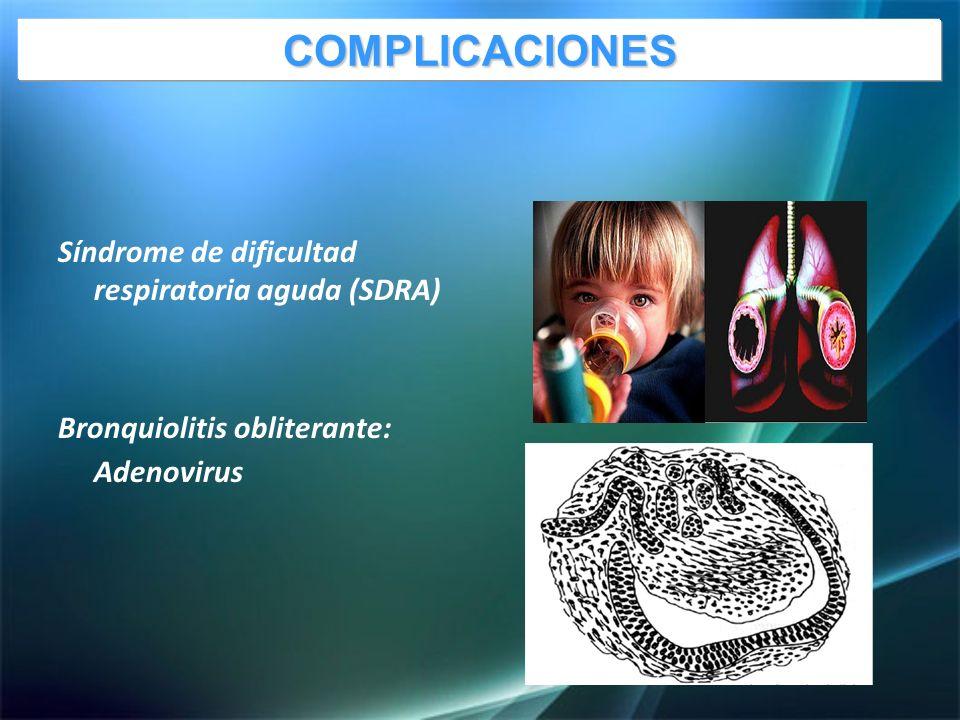 Síndrome de dificultad respiratoria aguda (SDRA) Bronquiolitis obliterante: Adenovirus COMPLICACIONES