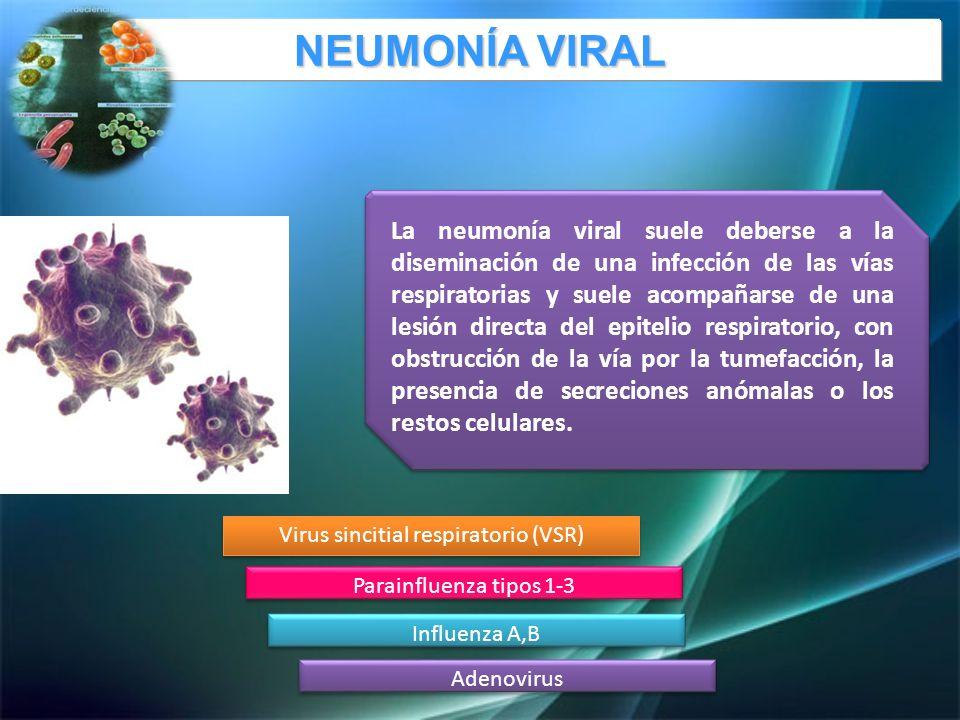 La neumonía viral suele deberse a la diseminación de una infección de las vías respiratorias y suele acompañarse de una lesión directa del epitelio respiratorio, con obstrucción de la vía por la tumefacción, la presencia de secreciones anómalas o los restos celulares.