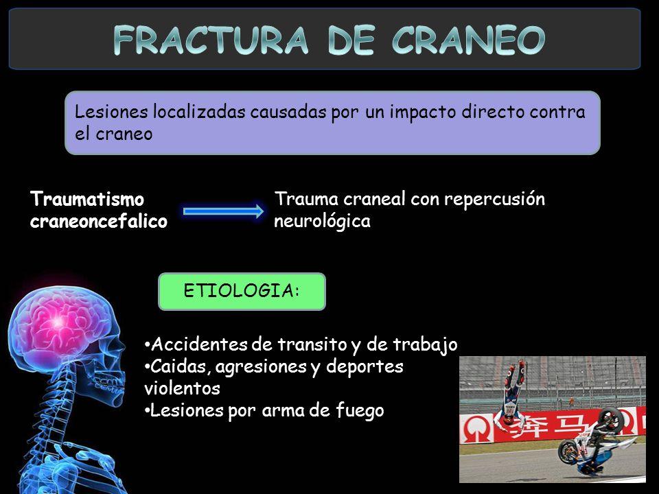 Lesiones localizadas causadas por un impacto directo contra el craneo Traumatismo craneoncefalico Trauma craneal con repercusión neurológica Accidente