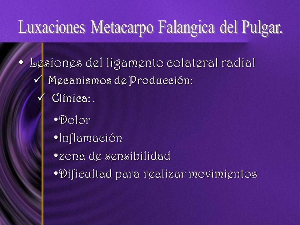 Lesiones del ligamento colateral radialLesiones del ligamento colateral radial Mecanismos de Producción: Mecanismos de Producción: Clínica:. Clínica:.