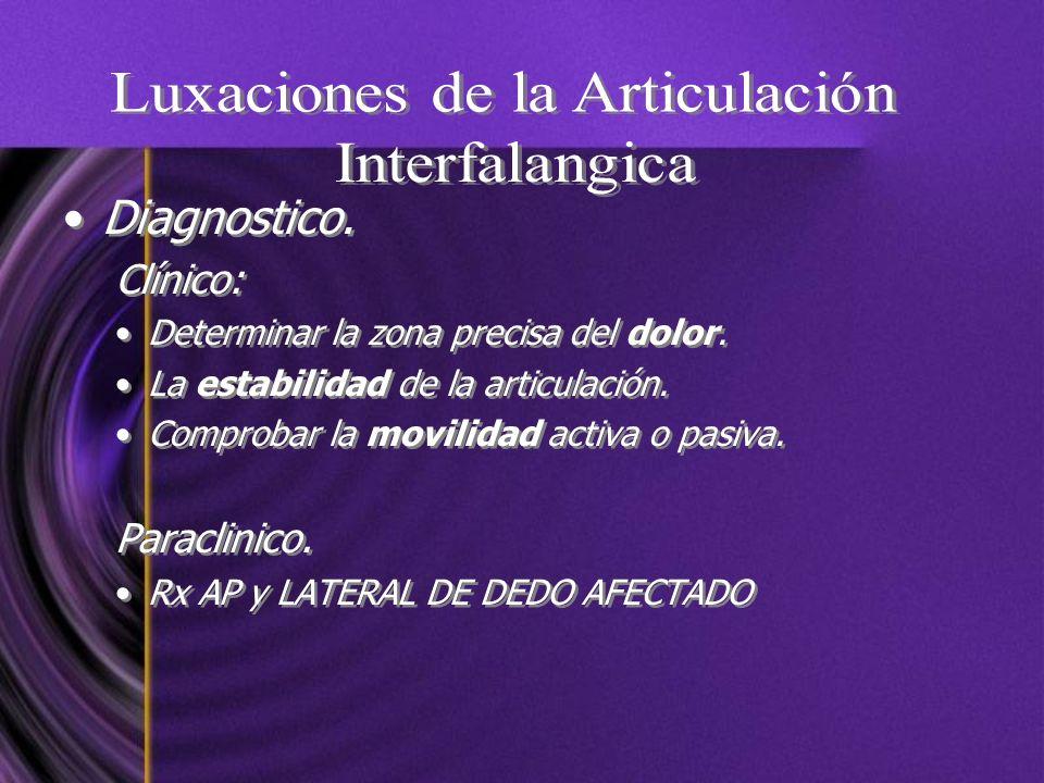 Diagnostico. Clínico: Determinar la zona precisa del dolor. La estabilidad de la articulación. Comprobar la movilidad activa o pasiva. Paraclinico. Rx