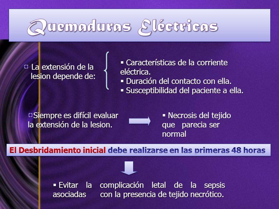 La extensión de la La extensión de la lesion depende de: lesion depende de: Características de la corriente eléctrica. Características de la corriente