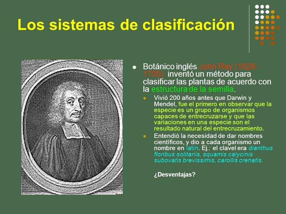 Botánico inglés John Ray (1628- 1705): inventó un método para clasificar las plantas de acuerdo con la estructura de la semilla. Vivió 200 años antes