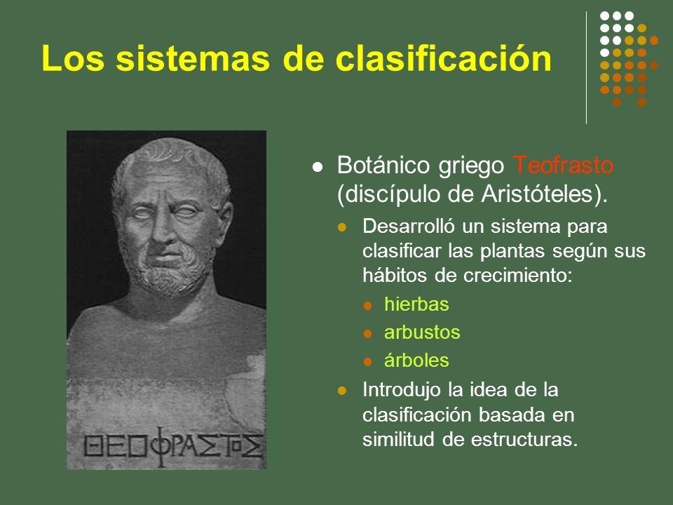 Los sistemas de clasificación Botánico griego Teofrasto (discípulo de Aristóteles). Desarrolló un sistema para clasificar las plantas según sus hábito