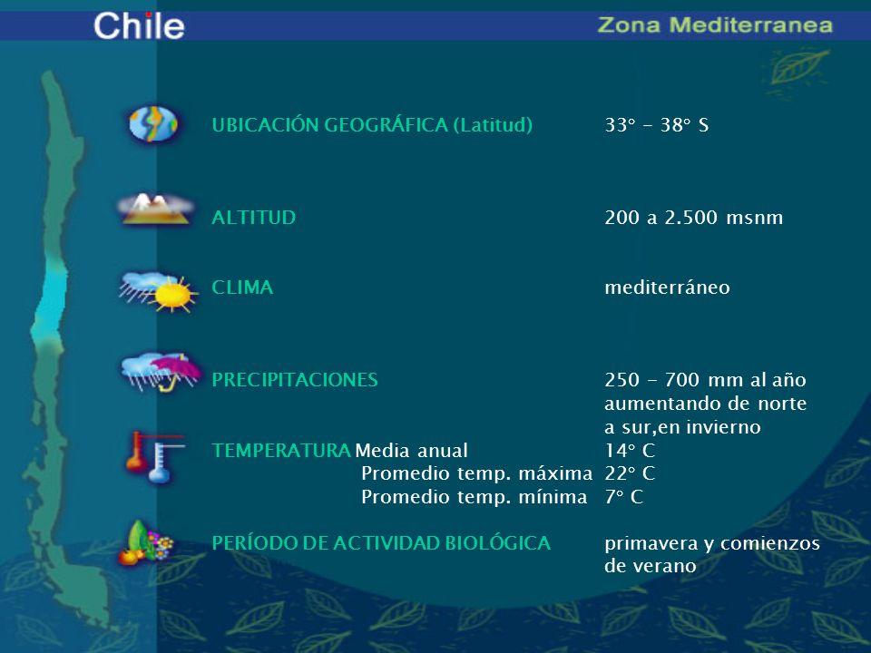 UBICACIÓN GEOGRÁFICA (Latitud)33° - 38° S ALTITUD200 a 2.500 msnm CLIMAmediterráneo PRECIPITACIONES250 - 700 mm al año aumentando de norte a sur,en in