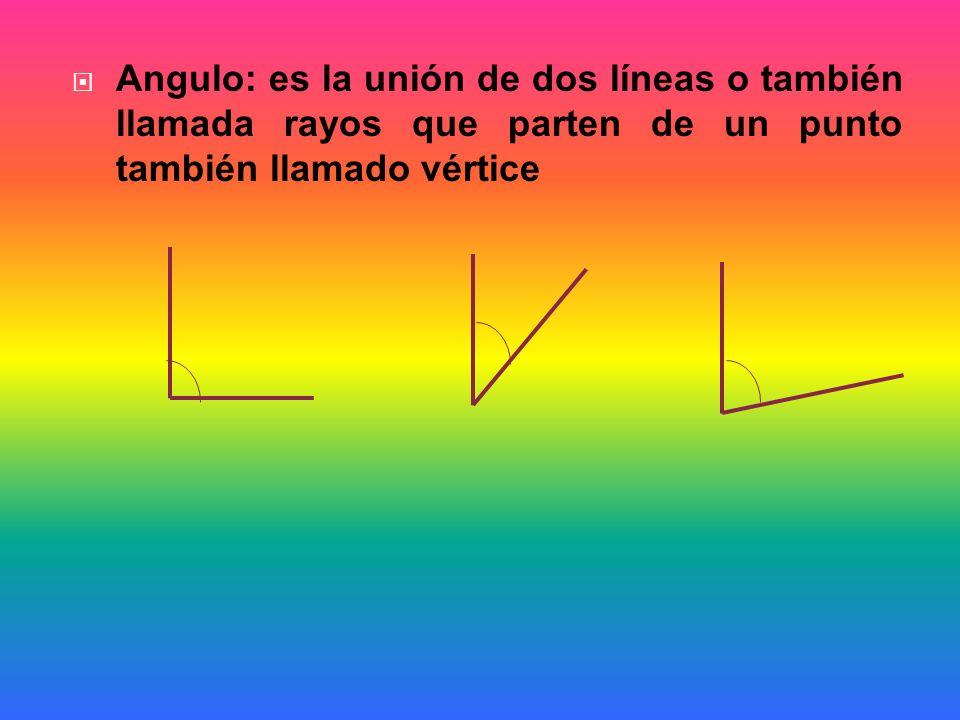 Angulo: es la unión de dos líneas o también llamada rayos que parten de un punto también llamado vértice