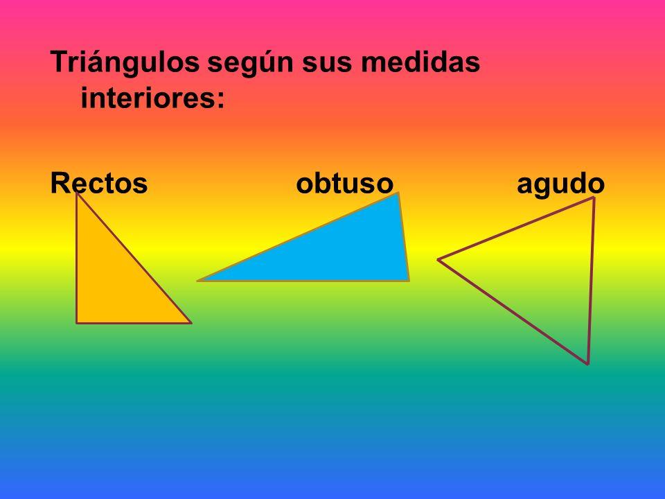 Triángulos según sus medidas interiores: Rectos obtuso agudo
