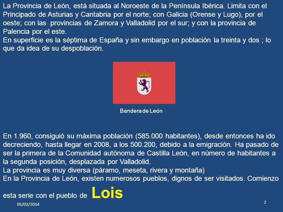 05/02/2014 2 Bandera de León La Provincia de León, está situada al Noroeste de la Península Ibérica.