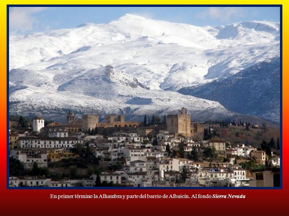 En primer término la Alhambra y parte del barrio de Albaicín. Al fondo Sierra Nevada
