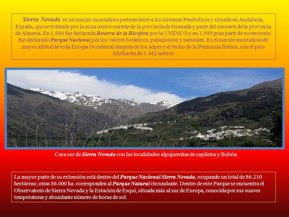 Sierra Nevada es un macizo montañoso perteneciente a los sistemas Penibéticos y situado en Andalucía, España, que se extiende por la zona centro-sureste de la provincia de Granada y parte del suroeste de la provincia de Almería.
