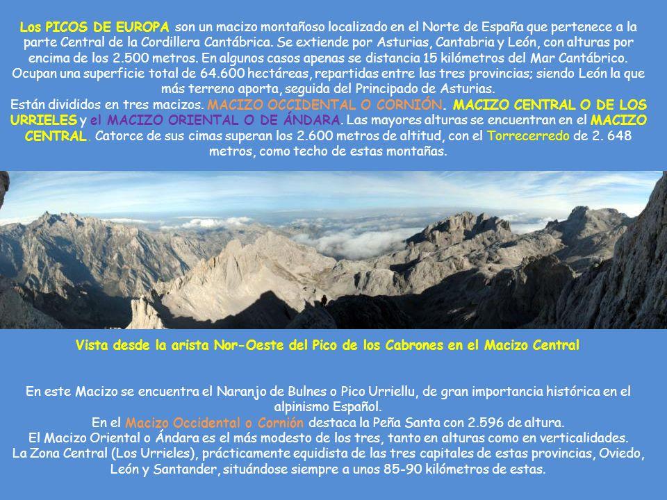 Vista desde la arista Nor-Oeste del Pico de los Cabrones en el Macizo Central Los PICOS DE EUROPA son un macizo montañoso localizado en el Norte de España que pertenece a la parte Central de la Cordillera Cantábrica.