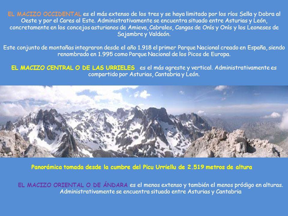 Panorámica tomada desde la cumbre del Picu Urriellu de 2.519 metros de altura EL MACIZO OCCIDENTAL es el más extenso de los tres y se haya limitado por los ríos Sella y Dobra al Oeste y por el Cares al Este.
