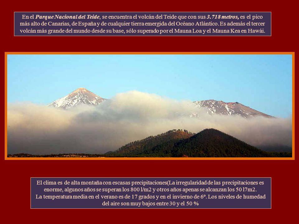 El Parque Nacional del Teide ocupa la zona más alta de la isla de Tenerife (Canarias) y de España. Declarado el 22 de Enero de 1954 como Parque Nacion