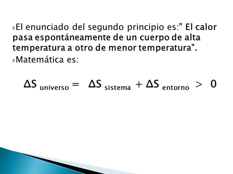 El enunciado del segundo principio es: El calor pasa espontáneamente de un cuerpo de alta temperatura a otro de menor temperatura. Matemática es: ΔS u