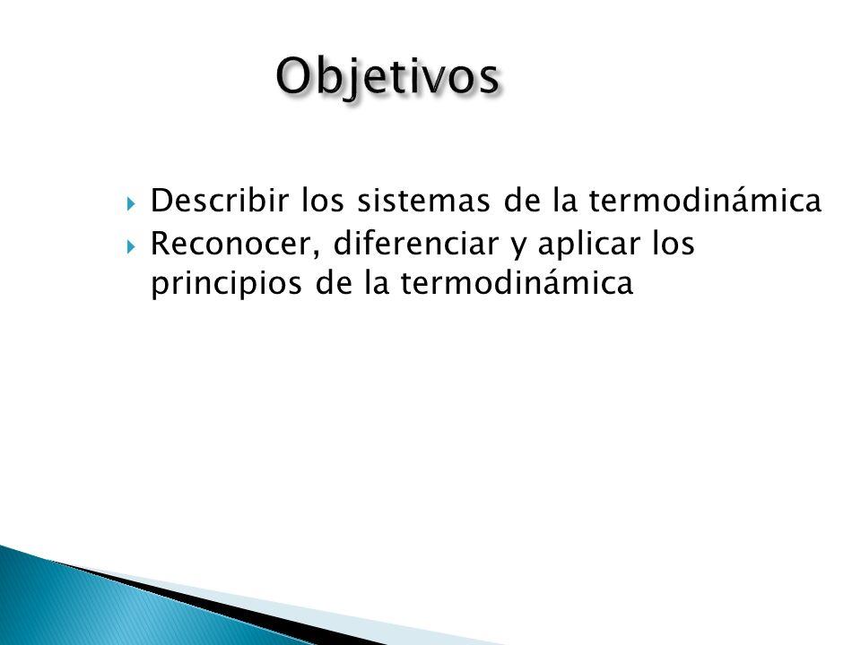 Describir los sistemas de la termodinámica Reconocer, diferenciar y aplicar los principios de la termodinámica