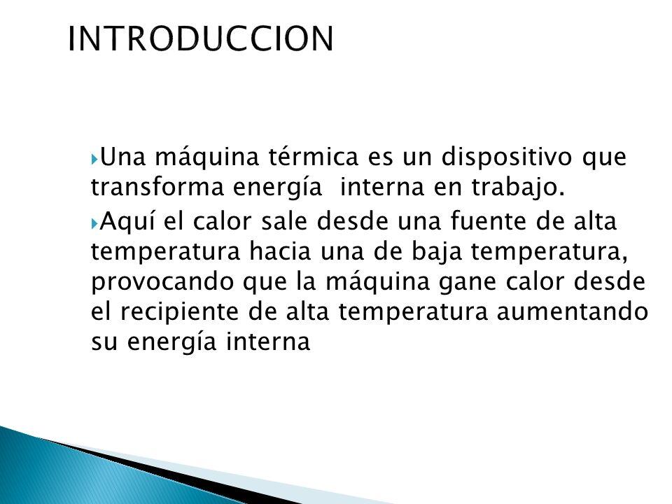 Una máquina térmica es un dispositivo que transforma energía interna en trabajo. Aquí el calor sale desde una fuente de alta temperatura hacia una de