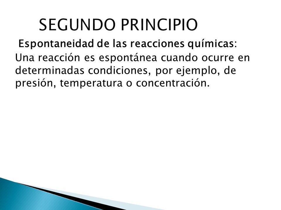 Espontaneidad de las reacciones químicas: Una reacción es espontánea cuando ocurre en determinadas condiciones, por ejemplo, de presión, temperatura o