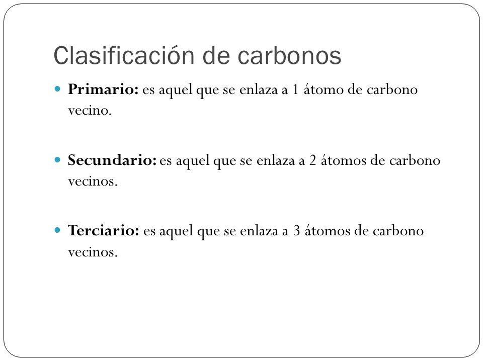 Clasificación de carbonos Primario: es aquel que se enlaza a 1 átomo de carbono vecino. Secundario: es aquel que se enlaza a 2 átomos de carbono vecin