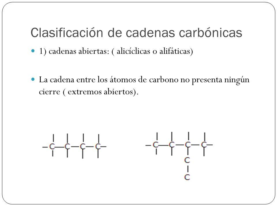 Clasificación de cadenas carbónicas 1) cadenas abiertas: ( alicíclicas o alifáticas) La cadena entre los átomos de carbono no presenta ningún cierre (