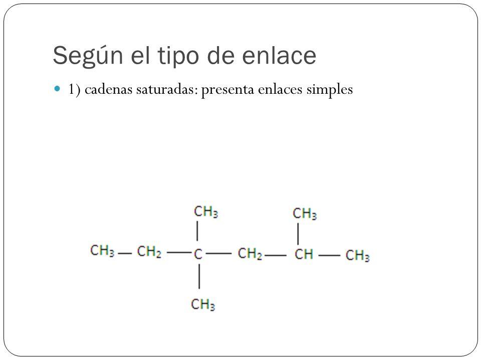Según el tipo de enlace 1) cadenas saturadas: presenta enlaces simples