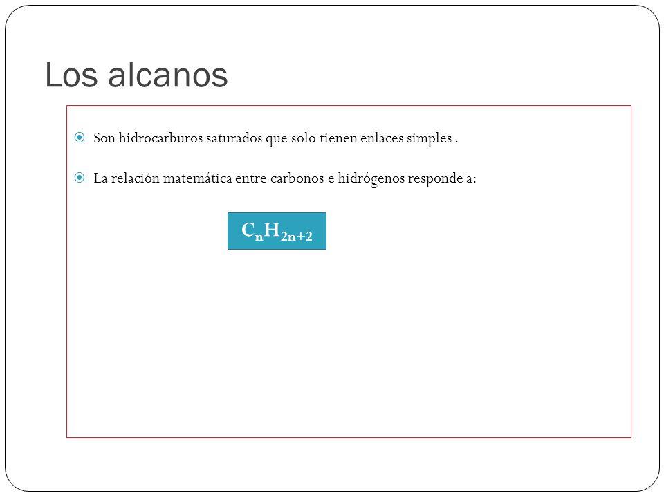Los alcanos Son hidrocarburos saturados que solo tienen enlaces simples. La relación matemática entre carbonos e hidrógenos responde a: C n H 2n+2