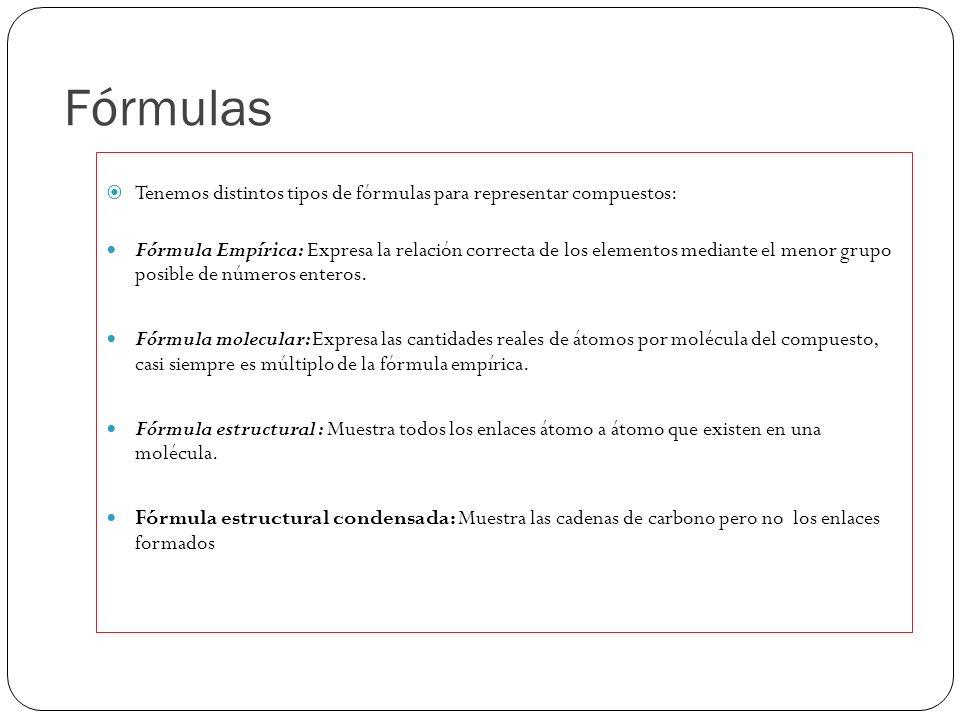 Fórmulas Tenemos distintos tipos de fórmulas para representar compuestos: Fórmula Empírica: Expresa la relación correcta de los elementos mediante el